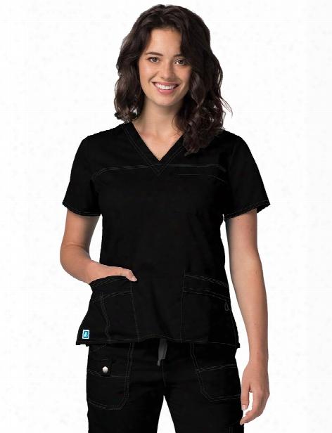 Adar Pop-stretch Junior Fit V-neck Scrub Top - Black - Female - Women's Scrubs