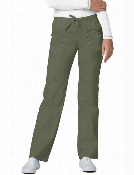 Adar Pop-stretch Mid Rise Cargo Scrub Pant - Olive - Female - Women's Scrubs