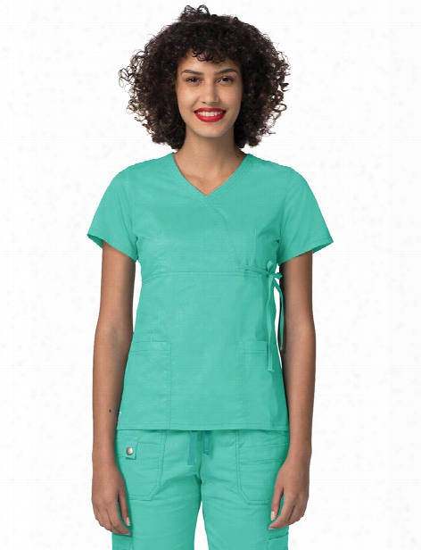 Adar Pop-stretch Mock Wrap Top - Sea Glass - Female - Women's Scrubs
