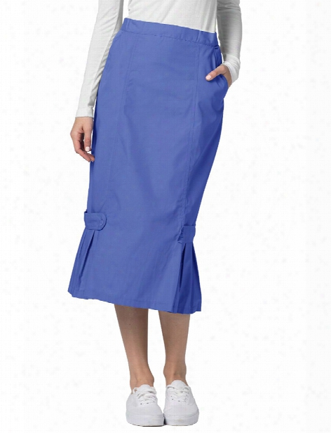 Adar Tabbed Pleat Panel Skirt - Ceil Blue - Female - Women's Scrubs