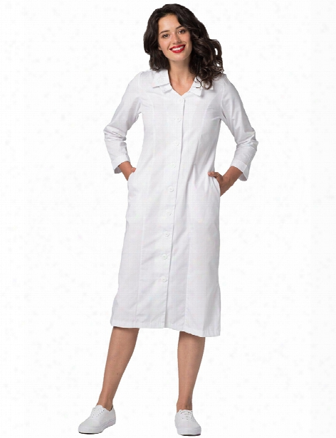 Adar Universal Double Embroidered Collar Dress - White - Female - Women's Scrubs