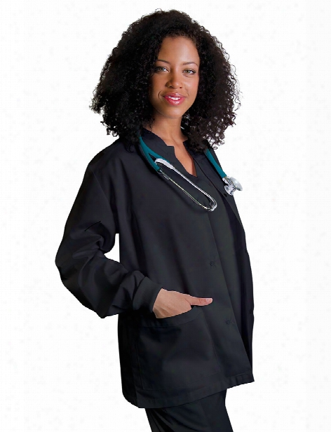 Adar Universal Round Neck Warm-up Scrub Jacket - Black - Female - Women's Scrubs