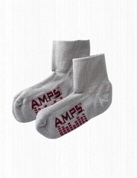 Amps Ladies Coolmax Moisture Wicking Crew Cut Socks Lite - Grey - Female - Women's Scrubs
