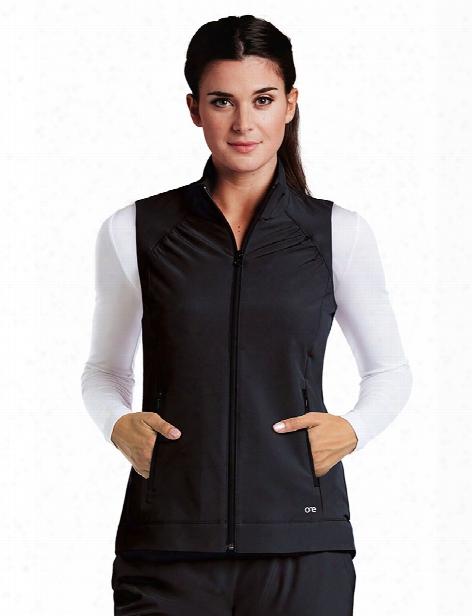 Barco One 2 Pocket Shirred Vest - Black - Female - Women's Scrubs