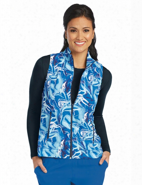 Barco One Blue Ocean Zip Vest - Print - Female - Women's Scrubs