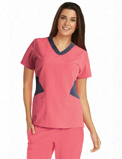 Barco One Contrast Front Panels Scrub Top - Coral Reef-granite - Female - Women's Scrubs