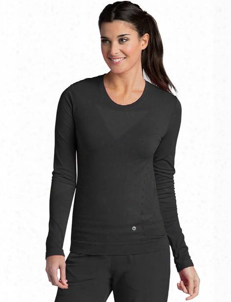 Barco One Long Sleeve Seamless Tee - Black - Female - Women's Scrubs