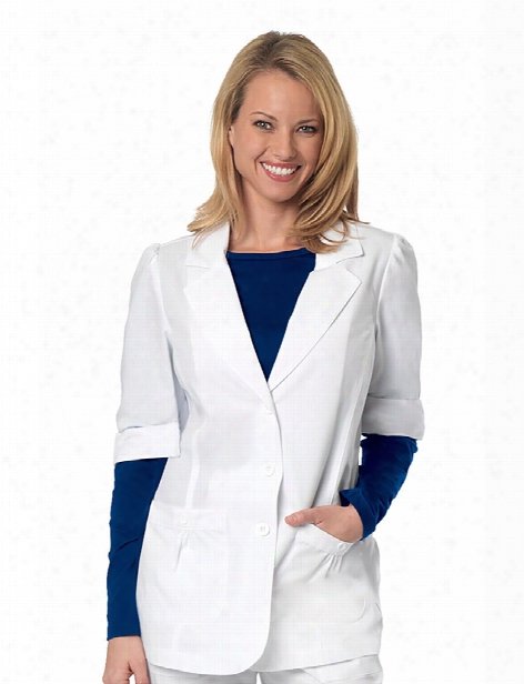 Barco Overpro 2 Pocket Short Sleeve Labcoat - White - Female - Women's Scrubs