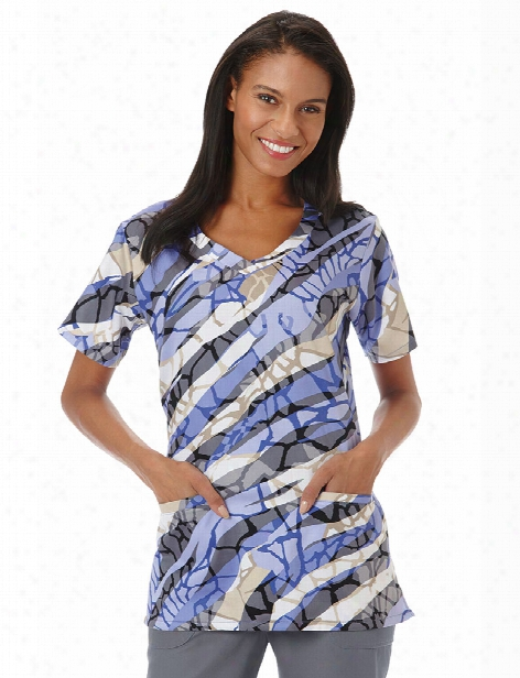 Bio Reflections V-neck Scrub Top - Print - Female - Women's Scrubs