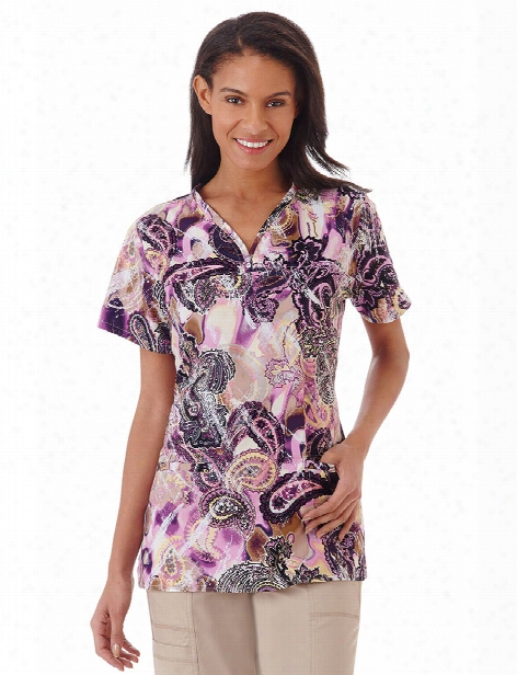 Bio Stretch Bohemian Silks Scrub Top - Print - Female - Women's Scrubs
