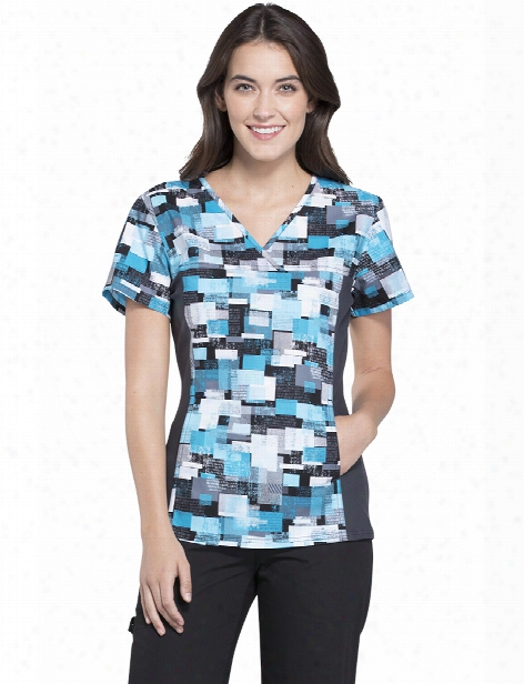 Cherokee Flexibles All Layered Up Scrub Top - Print - Female - Women's Scrubs