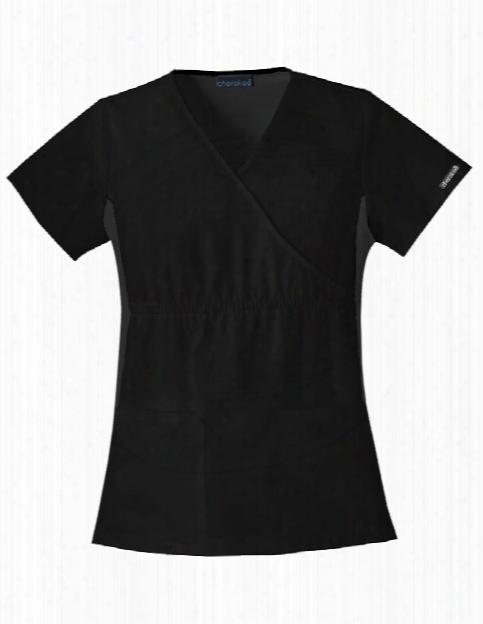 Cherokee Flexibles Mock Wrap Scrub Top - Black - Female - Women's Scrubs