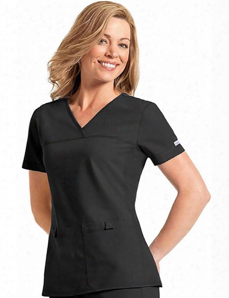 Cherokee Flexibles V-neck Solid Scrub Top - Black - Female - Women's Scrubs