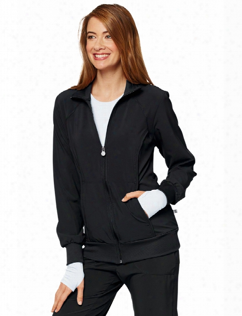 Cherokee Infinity Antimicrobial Zip Front Warm-up Jacket - Black - Female - Women's Scrubs