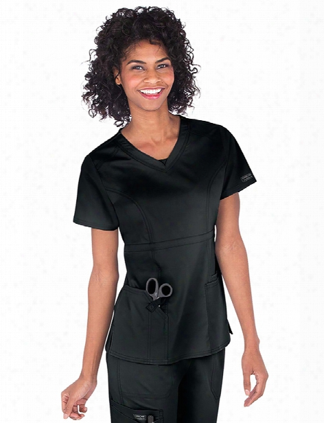 Cherokee Workwear Core Stretch Contemporary Fit V-neck Top - Black - Female - Women's Scrubs