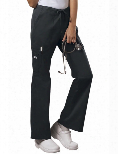 Cherokee Workwear Core Stretch Mid Rise Drawstring Cargo Pant - Black - Female - Women's Scrubs