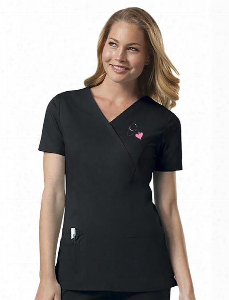 Cherokee Workwear Core Stretch Mock Wrap Scrub Top - Black - Female - Women's Scrubs