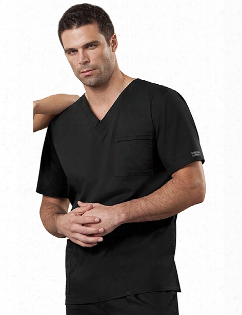 Cherokee Workwear Core Stretch Unisex V-neck Scrub Top - Black - Unisex - Unisex