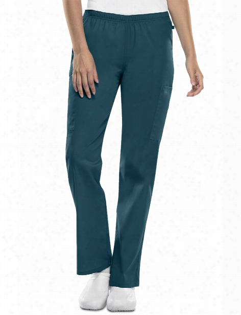 Cherokee Workwear Flex Antimicrobial Straight Leg Elastic Waist Scrub Pant - Caribbean Blue - Female - Women's Scrubs