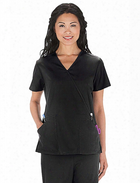 Cherokee Workwear Originals Mock Wrap Scrub Top - Black - Female - Women's Scrubs