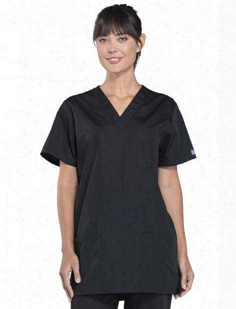 Cherkoee Workwear Originals Unisex V-neck Scrub Top - Black - Unisex - Unisex