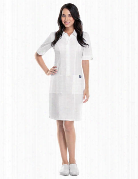 Cherokee Workwear Originals Zip Front Dress - White - Female - Women's Scrubs