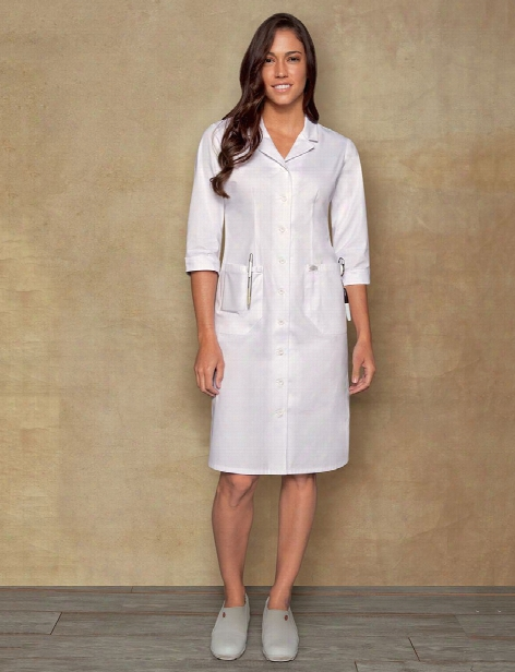 Dickies Button Front Scrub Dress - White - Female - Women's Scrubs