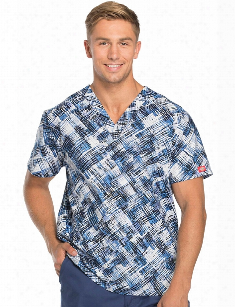 Dickies Eds Breaking Plaid Royal Unisex Scrub Top - Print - Unisex - Unisex