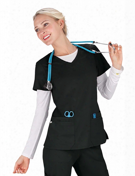 Dickies Eds Signature Jr. Fit V-neck Scrub Top - Black - Female - Women's Scrubs