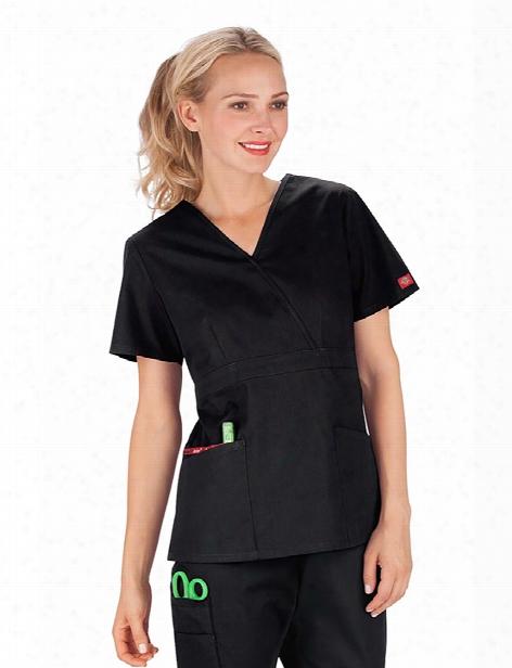 Dickies Eds Signature Mock Wrap Scrub Top - Black - Female - Women's Scrubs