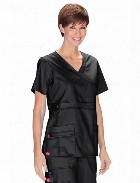 Dickies Gen Flex Mock Wrap Scrub Top - Black - Female - Women's Scrubs