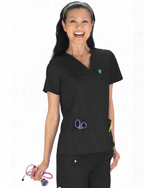 Dickies Gen Flex Youtility Contemporary Fit V-neck Top - Black - Female - Women's Scrubs