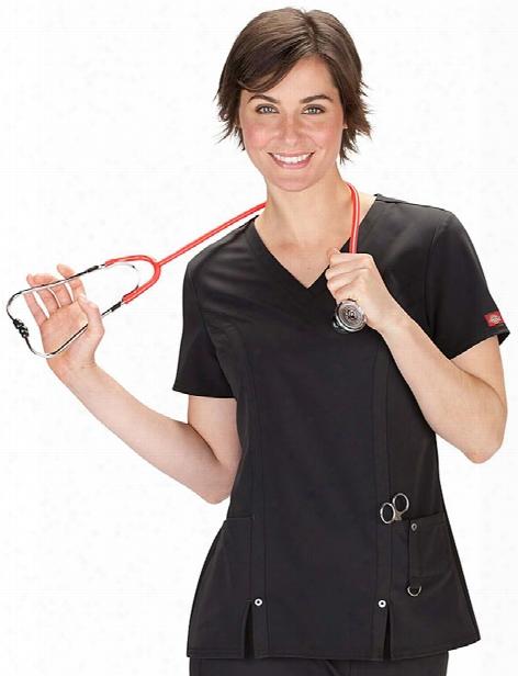 Dickies Xtreme Stretch V-neck Scrub Top - Black - Female - Women's Scrubs