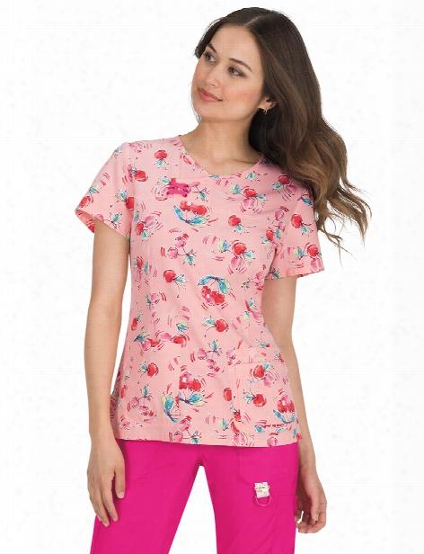 Koi Cherry Pie Serena Scrub Top - Print - Female - Women's Scrubs