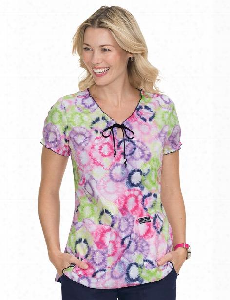 Koi Fireworks Tie Dye Embroidered Delaney Scrub Top - Print - Female - Women's Scrubs
