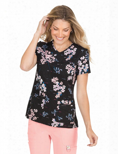 Koi Flower Twigs Serena Scrub Surface - Print - Female - Women's Scrubs