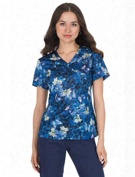 Koi Lite Animal Garden Bliss Scrub Top - Print - Female - Women's Scrubs