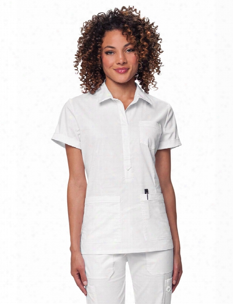 Koi Stretch Felicia Scrub Top - White - Female - Women's Scrubs