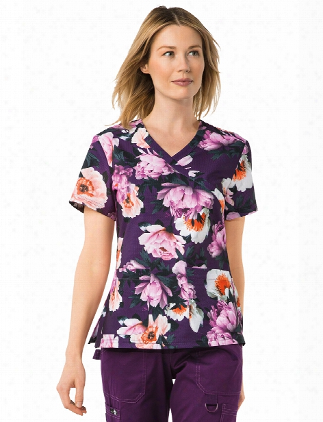 Koi Stretch Kristen Flower Boa Scrub Top - Print - Female - Women's Scrubs