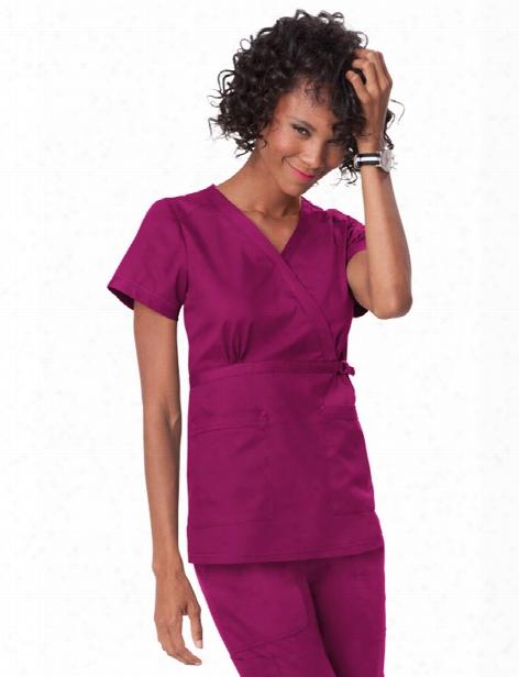 Koi Stretch Luna Mock Wrap Scrub Top - Raspberry - Female - Women's Scrubs