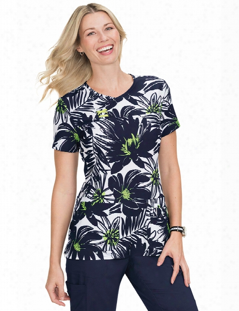 Koi Windy Tropical Serena Scrub Top - Print - Female - Women's Scrubs