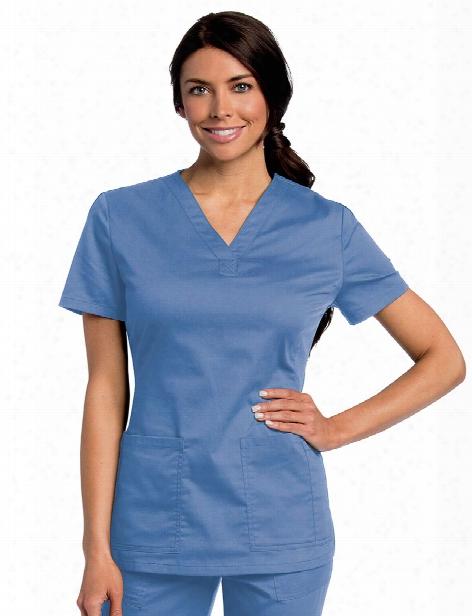 Landau All Day V-neck Scrub Top - Ceil - Female - Women's Scrubs