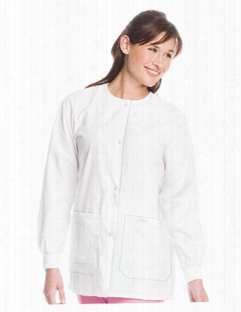 Landau Drawstring Warm-up Jacket - White - Female - Women's Scrubs