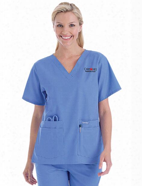 Landau Four Pocket V-neck Scrub Top - Ceil Blue - Female - Women's Scrubs