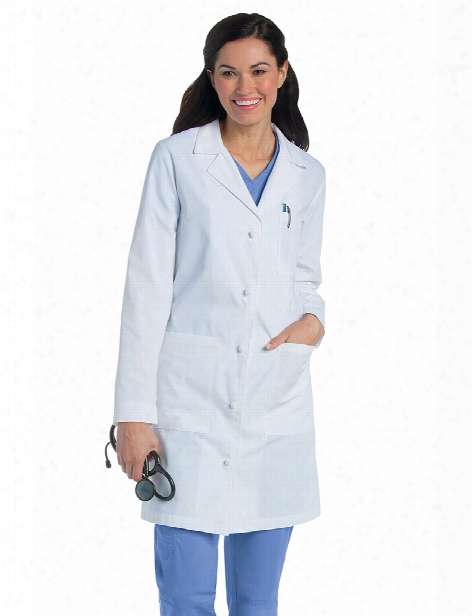 Landau Knot Button Lab Coat - White - Female - Women's Scrubs