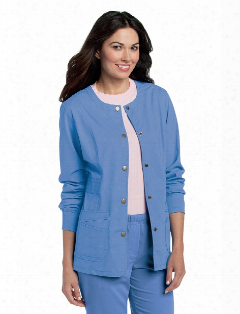 Landau Pre-washed Snap Front Scrub Jacket - Ceil Blue - Female - Women's Scrubs