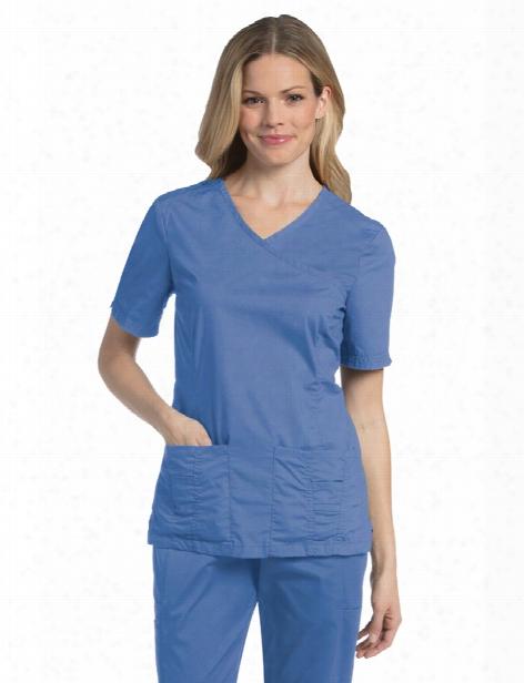 Landau Pre-washed Surplice Top - Ceil Blue - Female - Women's Scrubs