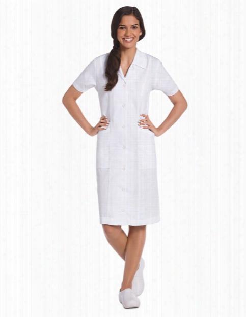 Landau Student Button Front Dress - White - Female - Women's Scrubs