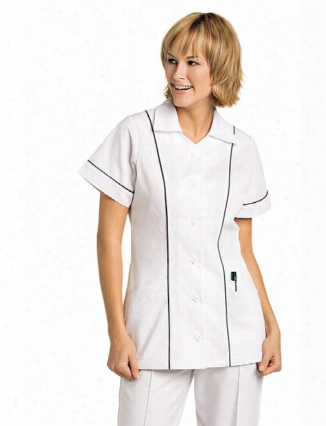 Landau Student Button Front Tunic - White-navy - Female - Women's Scrubs