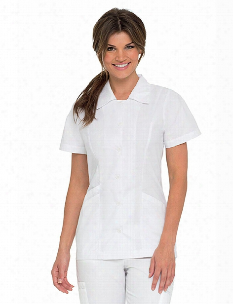 Landau Student Tailored Tunic - White - Female - Women's Scrubs
